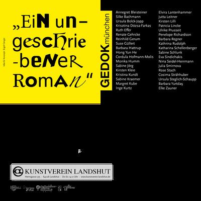 """Einladungskarte """"Ein ungeschriebener Roman"""", Jahresausstellung der GEDOK, Kunstverein Landshut"""