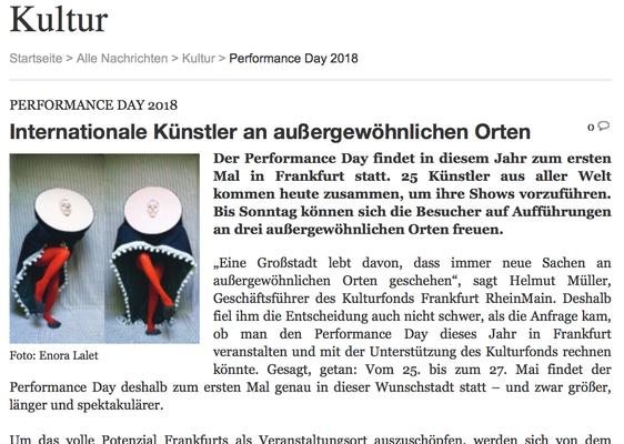 Vierter PERFORMANCE DAY 2018 – Internationale Künstler an außergewöhnlichen Orten –  Journal Frankfurt, 25. Mai 2018 von Martina Schumacher