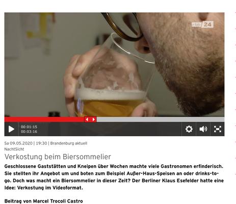 Biertasting und Bierseminare - live und digital - biersommelier.berlin - Biersommelier Karsten Morschett- rbb Abendschau