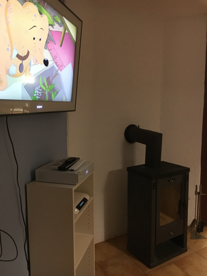 Großer Flachbildfernseher und Kamin