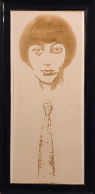 without title, drawing burned into nettle, presented in an original 1920ies frame, 2018