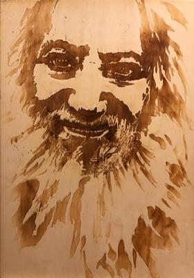 Max Weinberg (r.i.p.), Brandzeichnung auf Holz, 2018