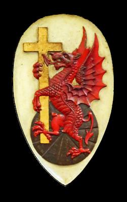 Christianisierter Drache aus dem Wappen der Artus-Loge in King Arthur's Hall, Tintagel, 1930er Jahre