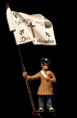 Fahnenträger des royalistischen Aufgebots von Aubier während der Kämpfe in der Vendée, Ende des 18. Jahrhunderts.
