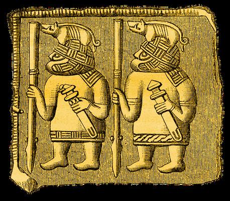 Darstellung germanischer Krieger mit Helmen, auf denen Eberfiguren befestigt sind, Helmblech, Torslunda, Schweden, 6. Jahrhundert
