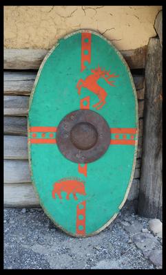 Rekonstruierter Kampfschild der Kelten, 1. Jahrhundert vor Christus