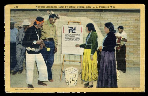 US-Postkarte mit einer Szene aus einem Navaho-Reservat, 1941