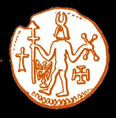 Nachzeichnung einer in Haithabu gefundenen Münze, 8. / 9. Jahrhundert