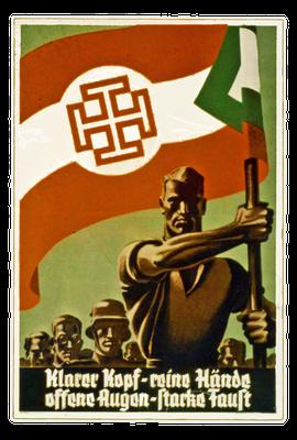 Die Fahne der Vaterländischen Front mit dem Sparren auf einem Plakat