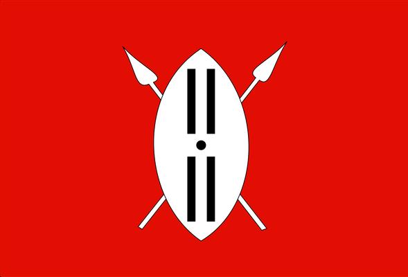 Flagge der Massai mit stilisiertem Kampfschild