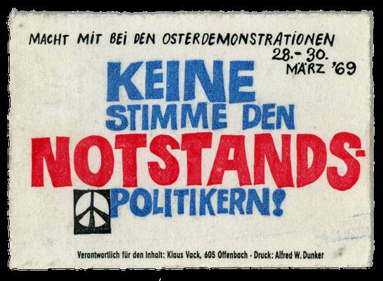 Aufkleber der APO, 1969