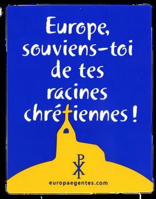 Aufkleber der katholischen Bewegung Europae Gentes, 1990er Jahre