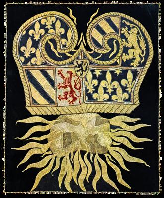 Feuerstahl mit dem Wappen Burgunds, Feuerstein und Funken, Stickarbeit, Burgund, zweite Hälfte des 15. Jahrhunderts