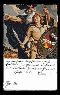 Karte mit der Darstellung Wotans und eines germanischen Kriegers, auf dessen Schild das Emblem des Bundes der Deutschen in Böhmen, 1910