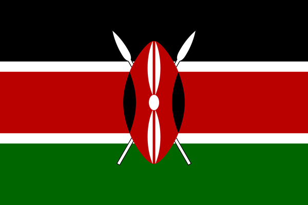 Nationalflagge Kenias mit stilisiertem Kampfschild der Massai