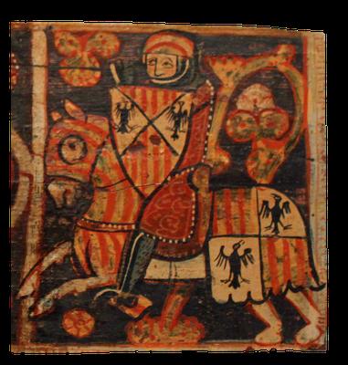 Darstellung des Königs von Aragon auf einem mittelalterlichen Wandbild, 13. Jahrhundert