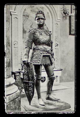 Figur des König Artus nach dem Entwurf Albrecht Dürers am Kenotaph Kaiser Maximilians, Innsbruck, erste Hälfte des 16. Jahrhunderts