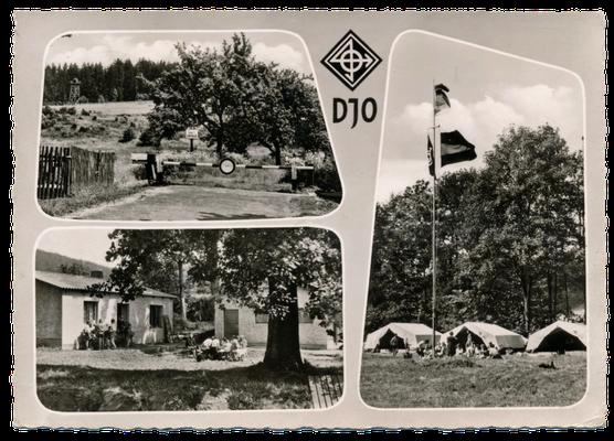 Werbepostkarte der Sudetendeutschen Jugend in der DJO, Grenzlandlager in Gaisthal / Oberpfalz 1964