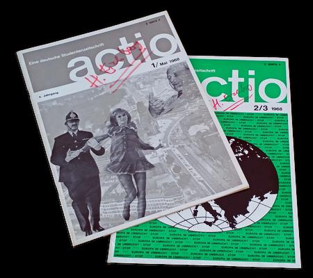 """Zwei Ausgaben der RSD-Zeitschrift """"actio"""", 1968"""
