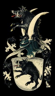 """Wappen des mecklenburgischen Geschlechts von Bassewitz, das bis auf das 13. Jahrhundert zurückgeht; Basse bedeutet in der Jägersprache so viel wie """"älterer Keiler"""""""