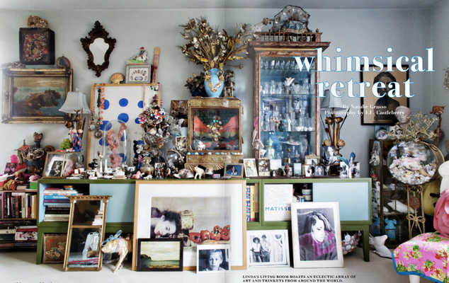 Linda Rodin's pale blue living room