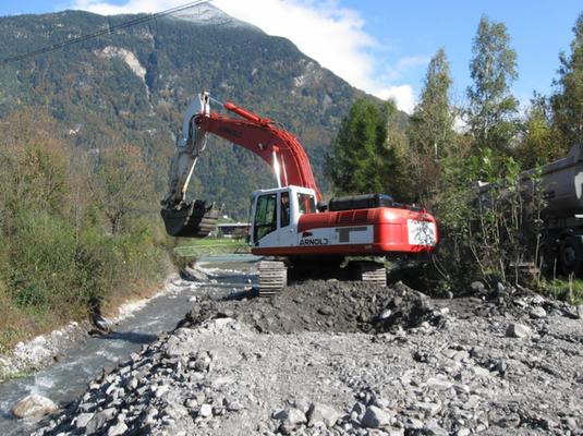 Cat 330 bei Bachschalensanierung Balanggenbach