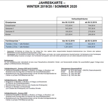 Saisonkarte Montafon-Brandnertal Jahreskarte 2019-2020