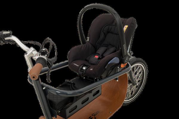 Babboe Slim Mountain Lasten e-Bike mit Maxi-Cosi-Halterung für Babys