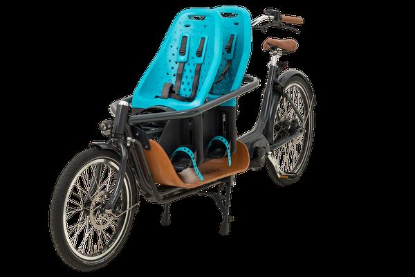 Babboe Slim Mountain Lasten e-Bike mit zwei Kindersitzen Yepp