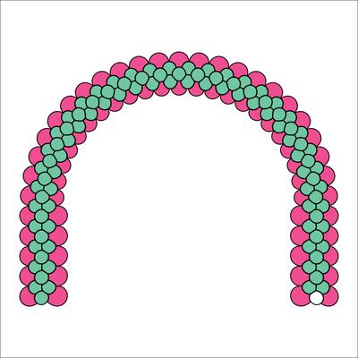 Схема рисунка (клипарт) на арке из воздушных шаров