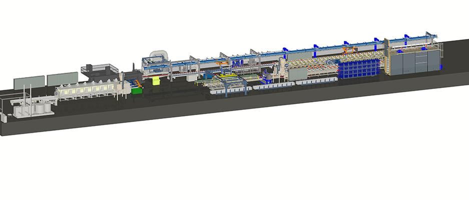 Modell einer Unterschütz-Strangpresslinie