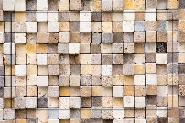 Steinmosaik- Wandgestaltung mit Steinen von GERZEN wand-design