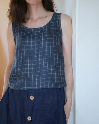 Bluse Sambucus aus Leinen Double Gauze von @tillit.ta, kurze Länge
