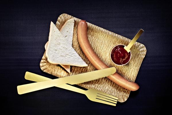 Goldenes Besteck, Lebensmittelverpackungs-Bau