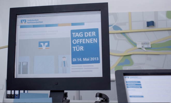 R&V Bank, Murmelbahn- Film, Computer aus Holz mit Heimat Berlin - Ergebnis unter -> Film sichtbar