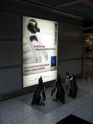 Dunhill, gegossene Pinguine aus Beton mit Stahlgerüst, Flughafen Düsseldorf