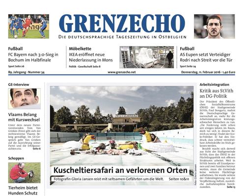 Grenzecho Titelblatt, 11 Februar 2016