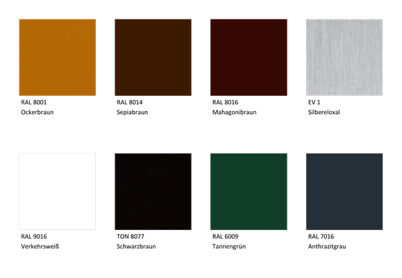 Folgende acht Farbtöne stehen zur kostenlosen Auswahl.