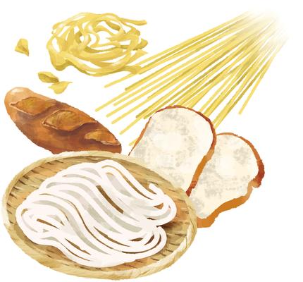 パン 麺 パスタ 小麦 イラスト