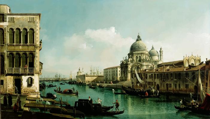 Bernardo Bellotto, Veduta del Canal Grande con La Dogana
