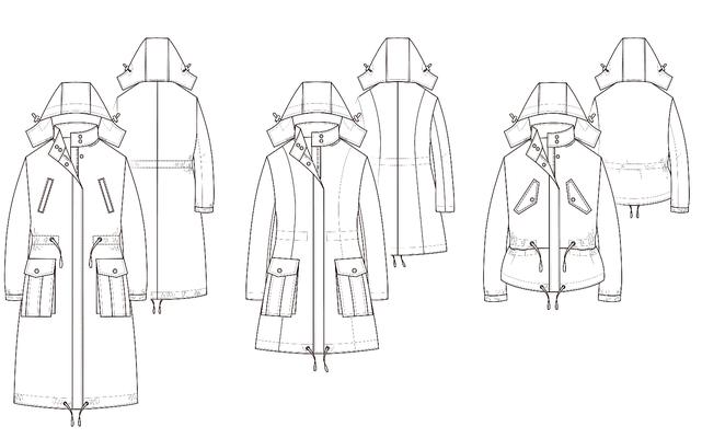Parka Technische Zeichnung mit Varianten