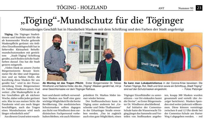 22.04.2020 - Masken für Töging - pnp