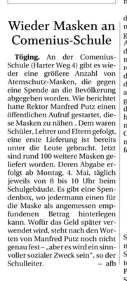 01.05.2020 - Wieder Masken an Comeniusschulen - pnp