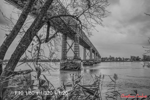 (Noir et blanc) Estey en bordure du chemin de randonnée, depuis le port de Cubzac-les-ponts. Samedi 26 septembre 2020. Photographie HDR © Christian Coulais