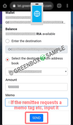 GreenBox Wallet - transfer coins