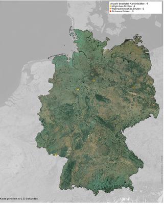 Brutvorkommen des Rotkopfwürgers in Deutschland 2011-2015 (Quelle: www. ornitho.de)