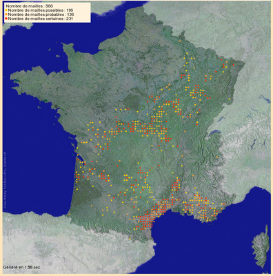 """Brutvorkommen des Rotkopfwürgers in Frankreich 2005-2012. Ein Teil der """"Verbreitungslöcher"""" liegt an einer unvollständigen Abdeckung (Quelle: http://www.atlas-ornitho.fr)"""