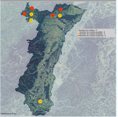 Brutvorkommen des Rotkopfwürgers im Elsass 2007-2015 (Quelle: www. faune-alsace.org)