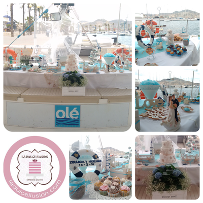 Mesa dulce en barco Cartagena. Candy bar boda en Cartagena. Tarta de boda, cupcakes, cakepops, cookies, bagel, golosinas. La dulce ilsuion