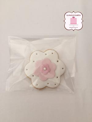 Galleta flor comunión 2017. Galleta decorada niña para comunión 2017. Galleta chica comunión. Galletas comunión Cartagena, Murcia